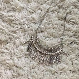 Silver tribal style statement necklace